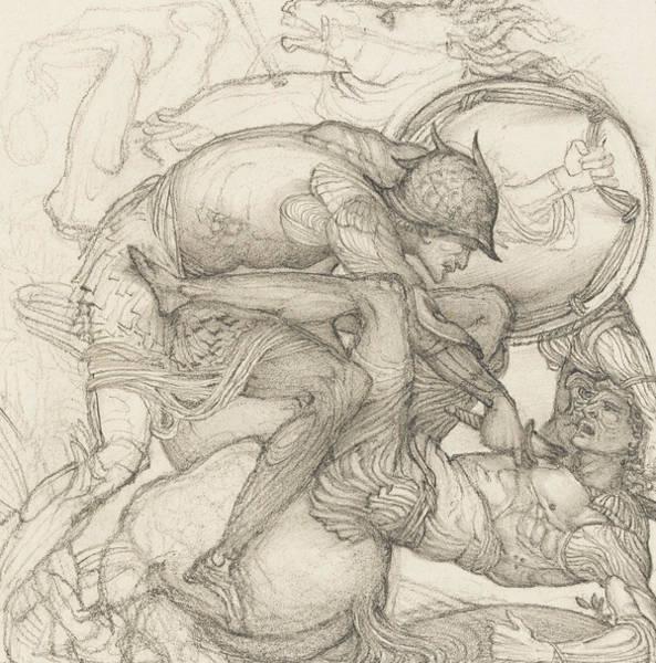 Armor Drawing - Aeneas Slaying Mezentius by Sir Edward Coley Burne-Jones