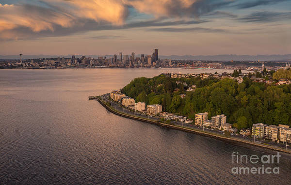 Safeco Field Photograph - Aerial Alki And Seattle At Dusk by Mike Reid