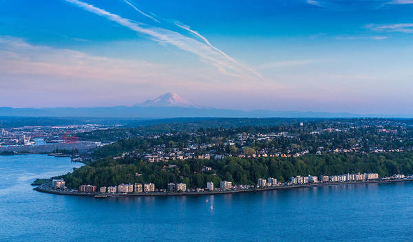Safeco Field Photograph - Aerial Alki West Seattle And Rainier by Mike Reid