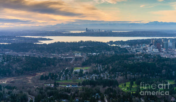 Pikes Place Photograph - Aerial Bellevue And Seattle Skylines by Mike Reid