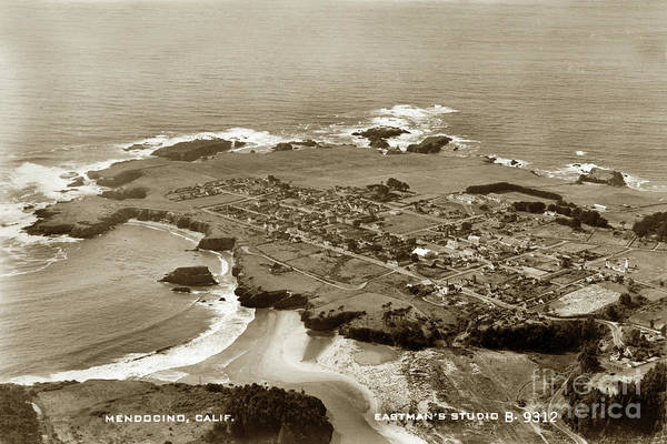 Photograph - Aerial Bird's Eye View Of Mendocino And Ocean, California, Circa by California Views Archives Mr Pat Hathaway Archives