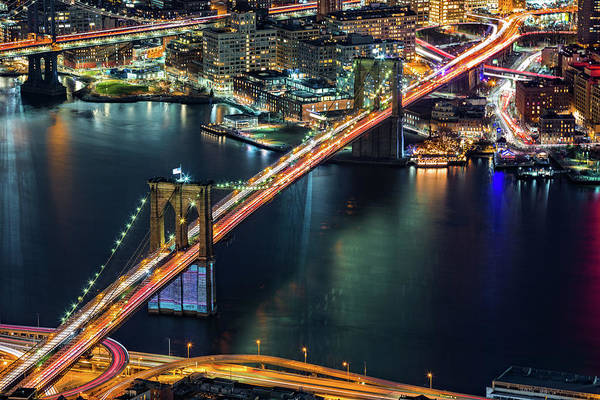 Photograph - Aerial Brooklyn Bridge by Mihai Andritoiu