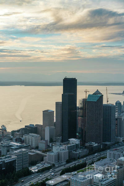 Safeco Field Photograph - Aerial Columbia Center And Elliott Bay by Mike Reid