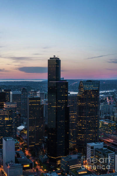 Safeco Field Photograph - Aerial Columbia Center Sunset by Mike Reid