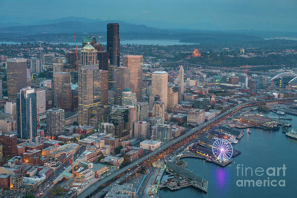 Safeco Field Photograph - Aerial Downtown Seattle And The Great Wheel by Mike Reid