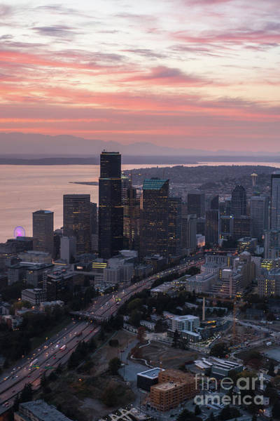 Safeco Field Photograph - Aerial Downtown Seattle At Sunset by Mike Reid