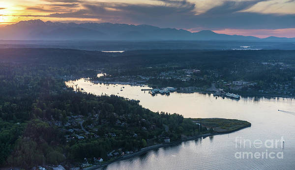 Elliot Bay Wall Art - Photograph - Aerial Eagle Harbor Bainbridge Island by Mike Reid