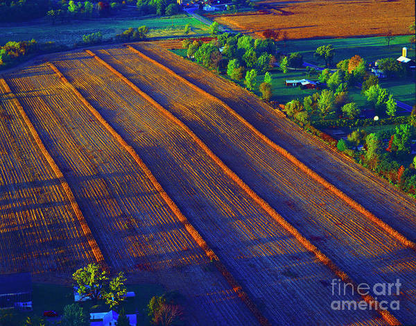 Aerial Farm Field Harvested At Sunset Art Print