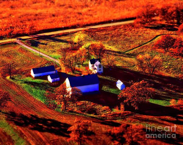 Photograph - Aerial Farm Houses Out Buildings Autumn Long Shadows Colors by Tom Jelen