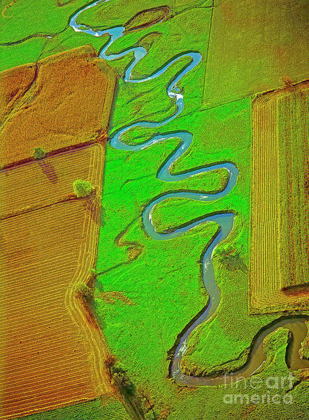 Photograph - Aerial Farm Stream Pasture Fields by Tom Jelen