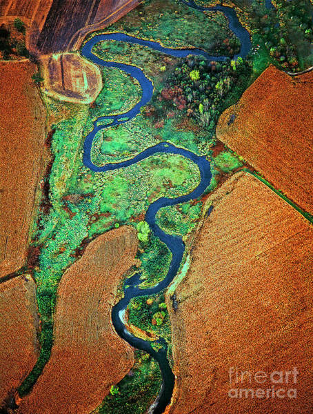 Photograph - Aerial Farm Wet Lands Stream  by Tom Jelen