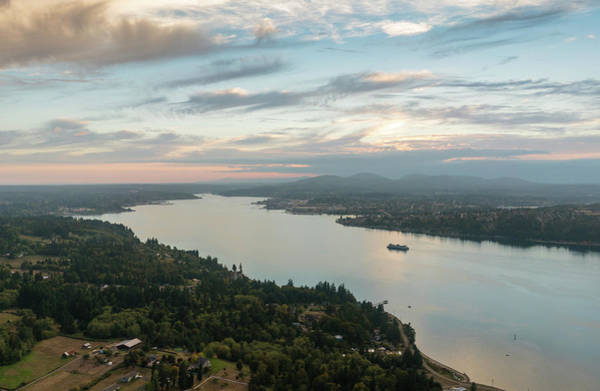 Safeco Field Photograph - Aerial Ferry To Bremerton by Mike Reid