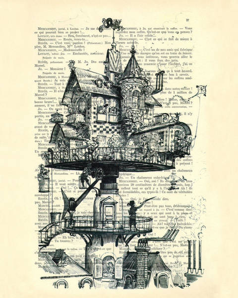 House Digital Art - Aerial House Black And White Antique Illustration by Madame Memento
