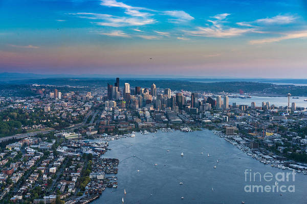 Safeco Field Photograph - Aerial Lake Union And Seattle by Mike Reid