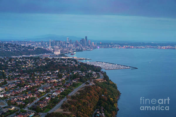 Safeco Field Photograph - Aerial Magnolia Bluff And Seattle by Mike Reid