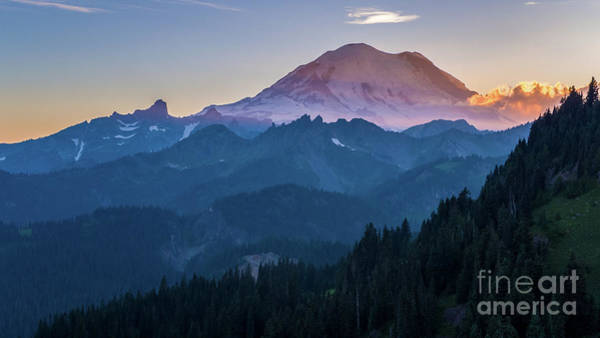Wall Art - Photograph - Aerial Mount Rainier Sunset Layers Chinook Pass by Mike Reid