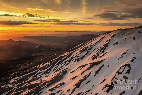 Wall Art - Photograph - Aerial Mount St Helens Sunset Glow by Mike Reid