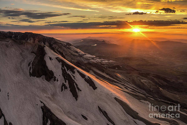 Wall Art - Photograph - Aerial Mount St Helens Sunset Sunstar by Mike Reid