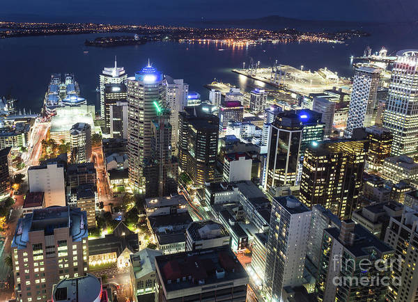 Photograph - Aerial Night View Of Auckland  In New Zealand by Didier Marti