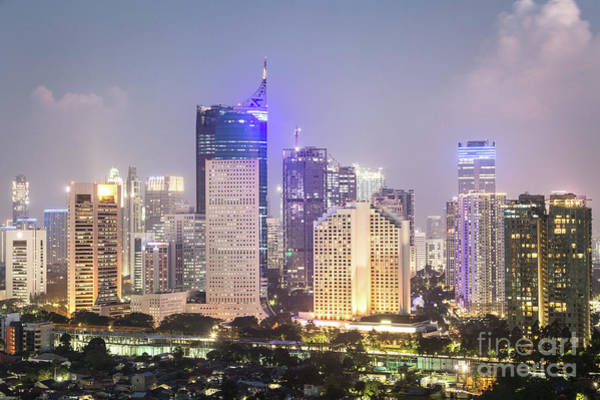 Photograph - Aerial Night View Of Jakarta Urban Skyline In Indonesia by Didier Marti
