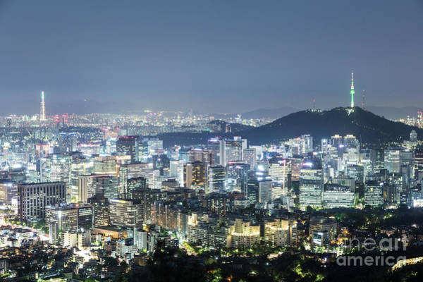 Photograph - Aerial Night View Of Seoul by Didier Marti
