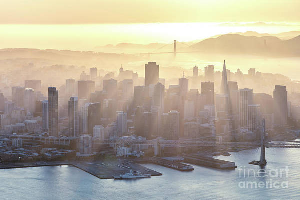 Wall Art - Photograph - Aerial Of Downtown District At Sunset, San Francisco, Usa by Matteo Colombo