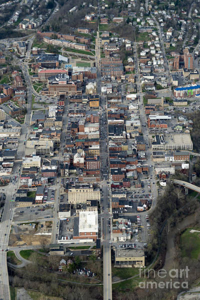 Photograph - Aerial Of High Street Downtown Morgantown by Dan Friend