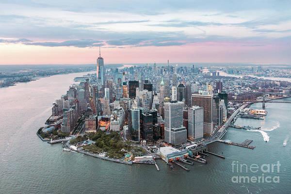 Wall Art - Photograph - Aerial Of Lower Manhattan Peninsula At Sunset, New York, Usa by Matteo Colombo