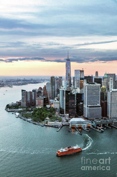Wall Art - Photograph - Aerial Of Lower Manhattan Skyline With Staten Island Ferry Boat, by Matteo Colombo