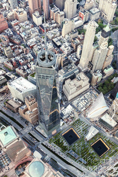 Wall Art - Photograph - Aerial Of One World Trade Center And 9/11 Memorial, New York, Us by Matteo Colombo