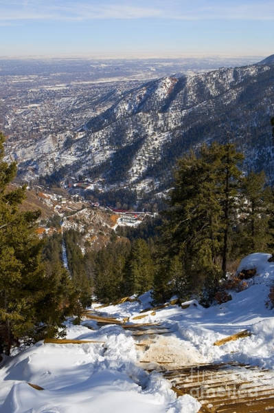 Photograph - Aerial Of The Manitou Incline In Wintertime by Steve Krull