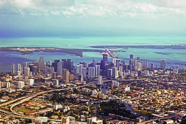 Photograph - Aerial Of The Miami Skyline Miami Florida Fl by Toby McGuire