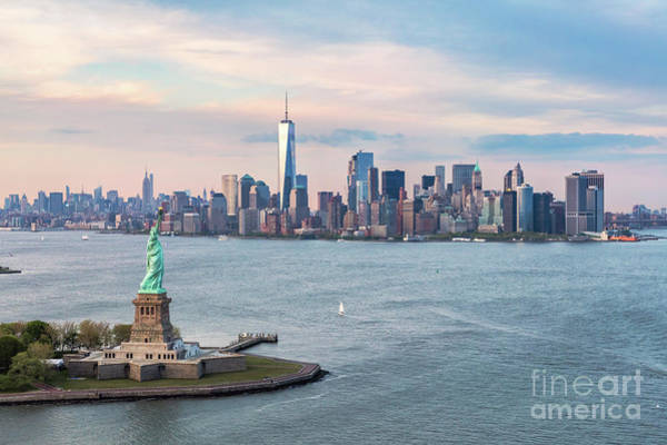 Wall Art - Photograph - Aerial Of The Statue Of Liberty And Manhattan Skyline, New York, by Matteo Colombo