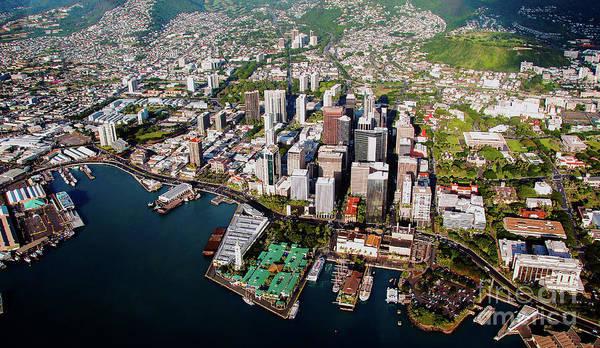 Photograph - Aerial Panorama - Downtown - City Of Honolulu, Oahu, Hawaii  by D Davila