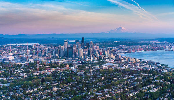 Safeco Field Photograph - Aerial Queen Anne And The Seattle Skyline by Mike Reid