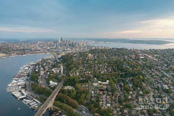Safeco Field Photograph - Aerial Queen Anne Hill And Seattle Beyond by Mike Reid