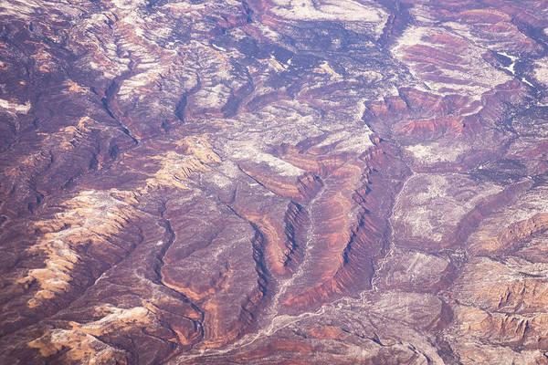 Photograph - Aerial - Rough And Varicolored Earth by Georgia Mizuleva