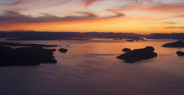 Victoria Harbor Wall Art - Photograph - Aerial San Juan Islands Sunset Mood by Mike Reid