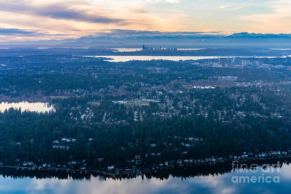 Pikes Place Photograph - Aerial Seattle And Bellevue Skylines Across Lake Washington And Lake Sammamish Towards The Cascades by Mike Reid