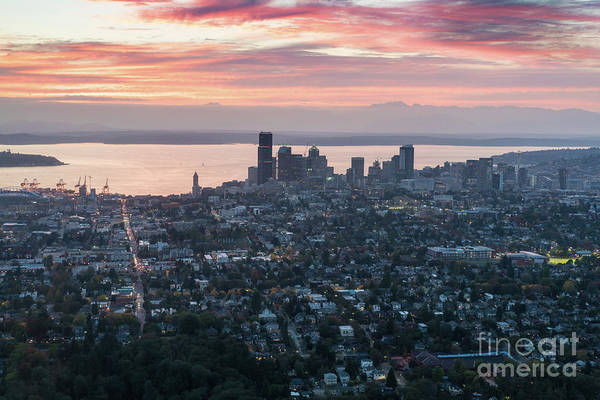 Safeco Field Photograph - Aerial Seattle And Capitol Hill At Sunset by Mike Reid