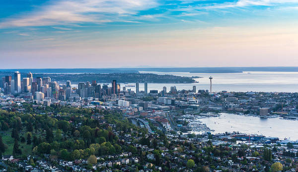 Safeco Field Photograph - Aerial Seattle And Volunteer Park by Mike Reid