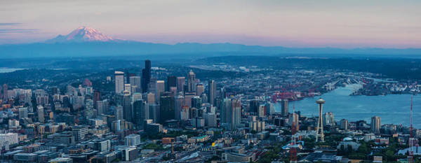 Puget Sound Photograph - Aerial Seattle Puget Sound At Dusk by Mike Reid