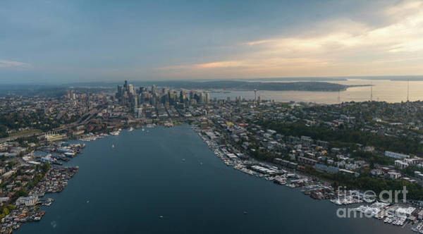 Safeco Field Photograph - Aerial Seattle Queen Anne Lake Union And Beyond by Mike Reid