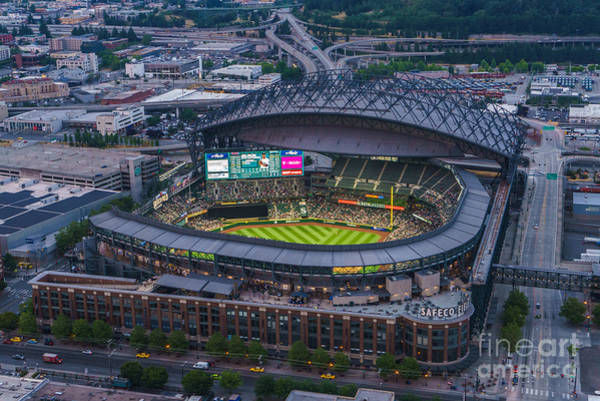 Safeco Field Photograph - Aerial Seattle Safeco Field Mariners by Mike Reid