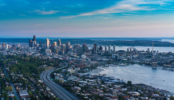Safeco Field Photograph - Aerial Seattle Skyline And Lake Union by Mike Reid