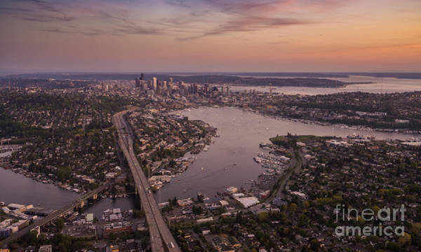 Safeco Field Photograph - Aerial Seattle View Along Interstate 5 by Mike Reid