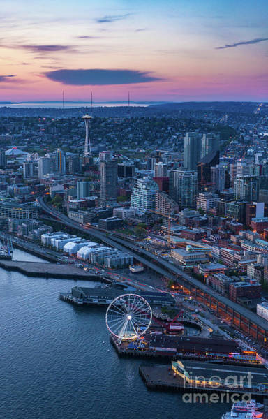 Elliot Bay Wall Art - Photograph - Aerial Seattle Waterfront And Space Needle by Mike Reid
