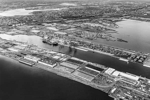 Photograph - Aerial View Bayonne Container Terminal Bw by Susan Candelario