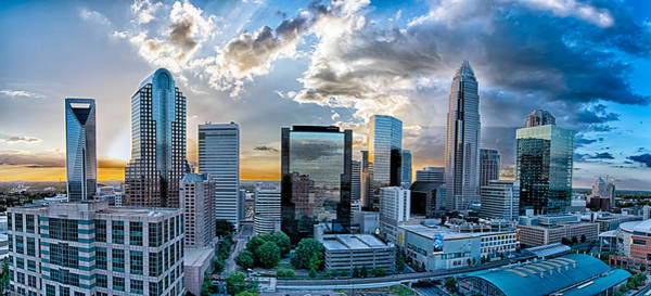 Photograph - Aerial View Of Charlotte City Skyline At Sunset by Alex Grichenko