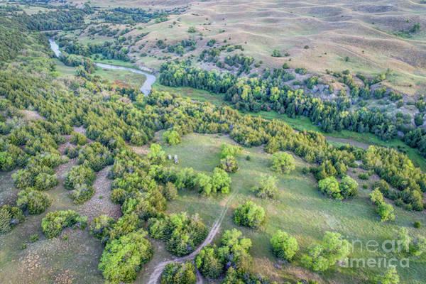 Photograph - aerial view of Dismal River in Nebraska Sandhills by Marek Uliasz